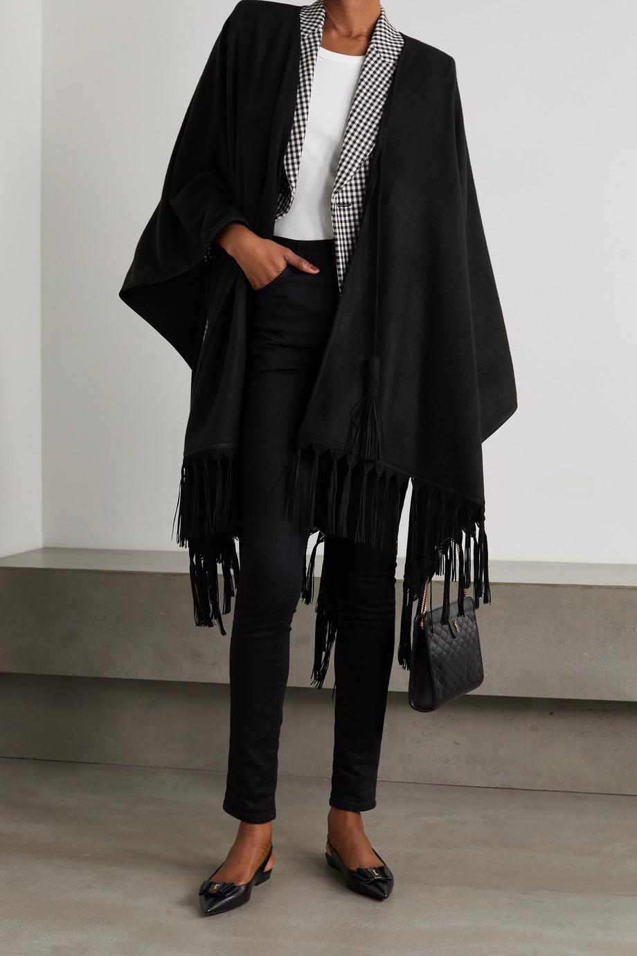 SAINT LAURENT Tasseled suede-trimmed cashmere poncho