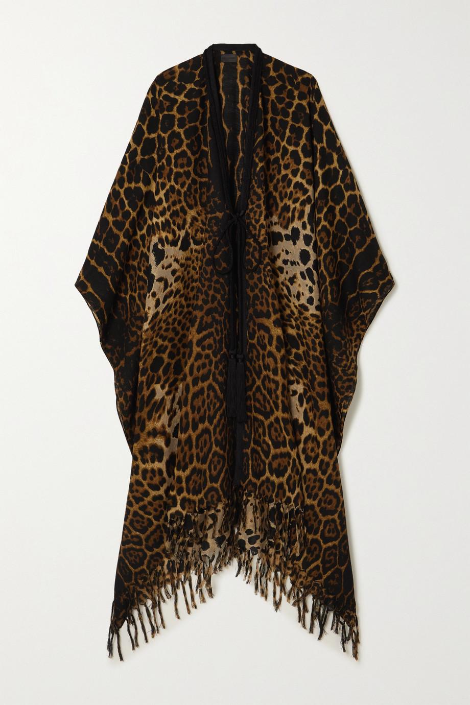 SAINT LAURENT Poncho en laine à imprimé léopard, finitions tressées et franges
