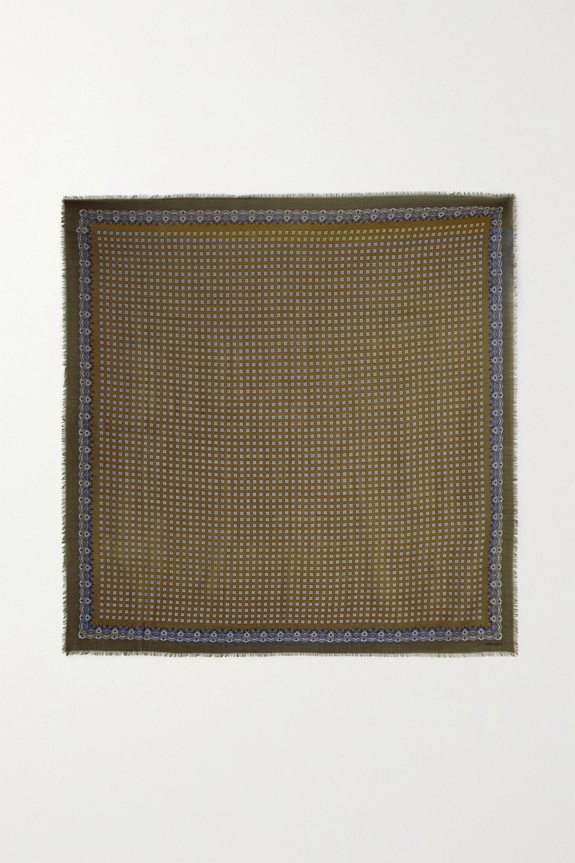 SAINT LAURENT Embroidered printed wool scarf