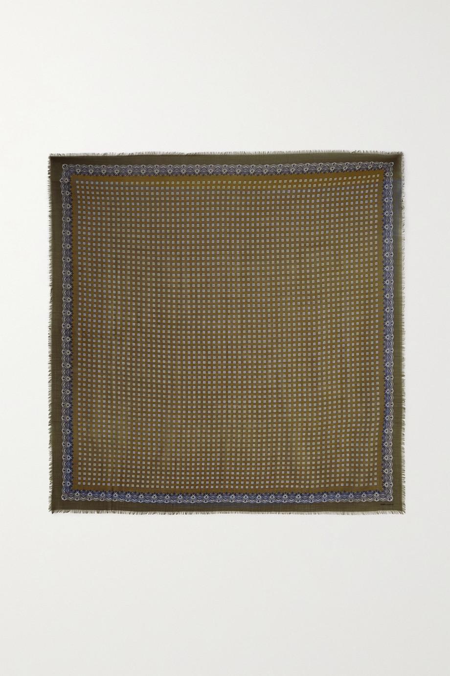 SAINT LAURENT Schal aus bedruckter Wolle mit Stickerei