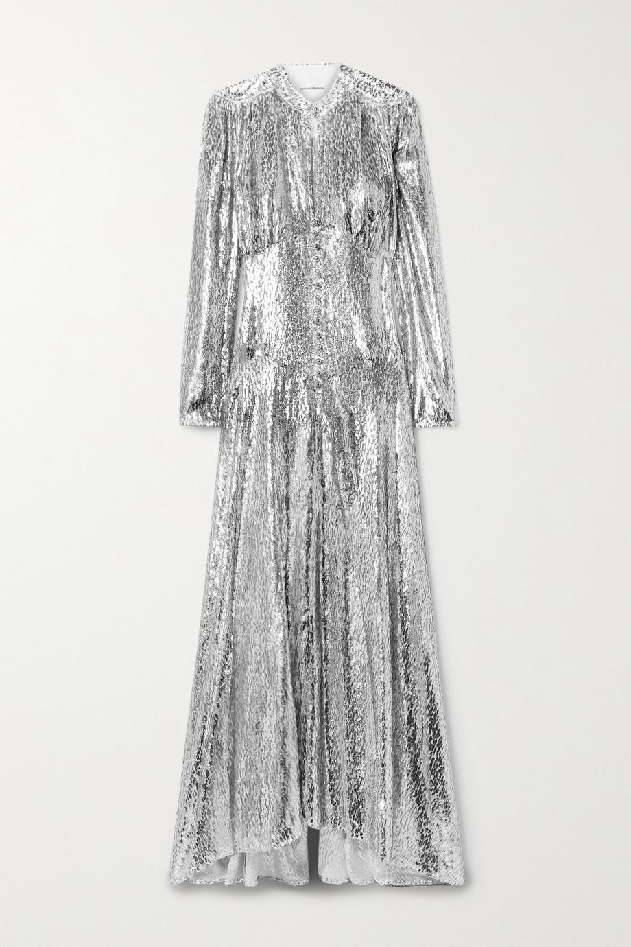 Paco Rabanne Metallic fil coupé chiffon gown