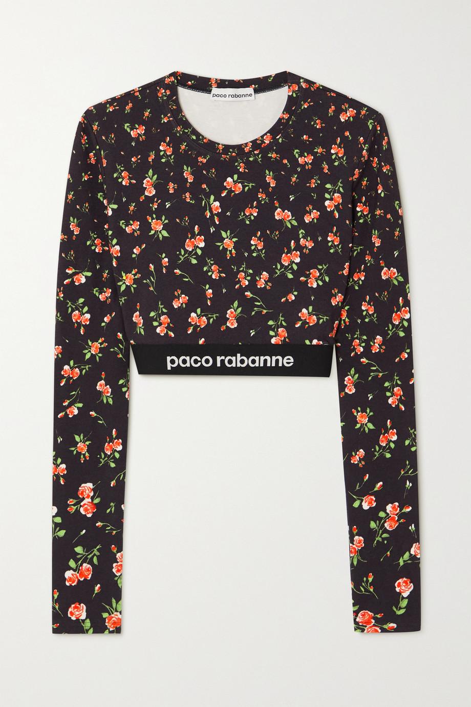 Paco Rabanne Haut raccourci en jersey stretch à finitions en jacquard et à imprimé fleuri