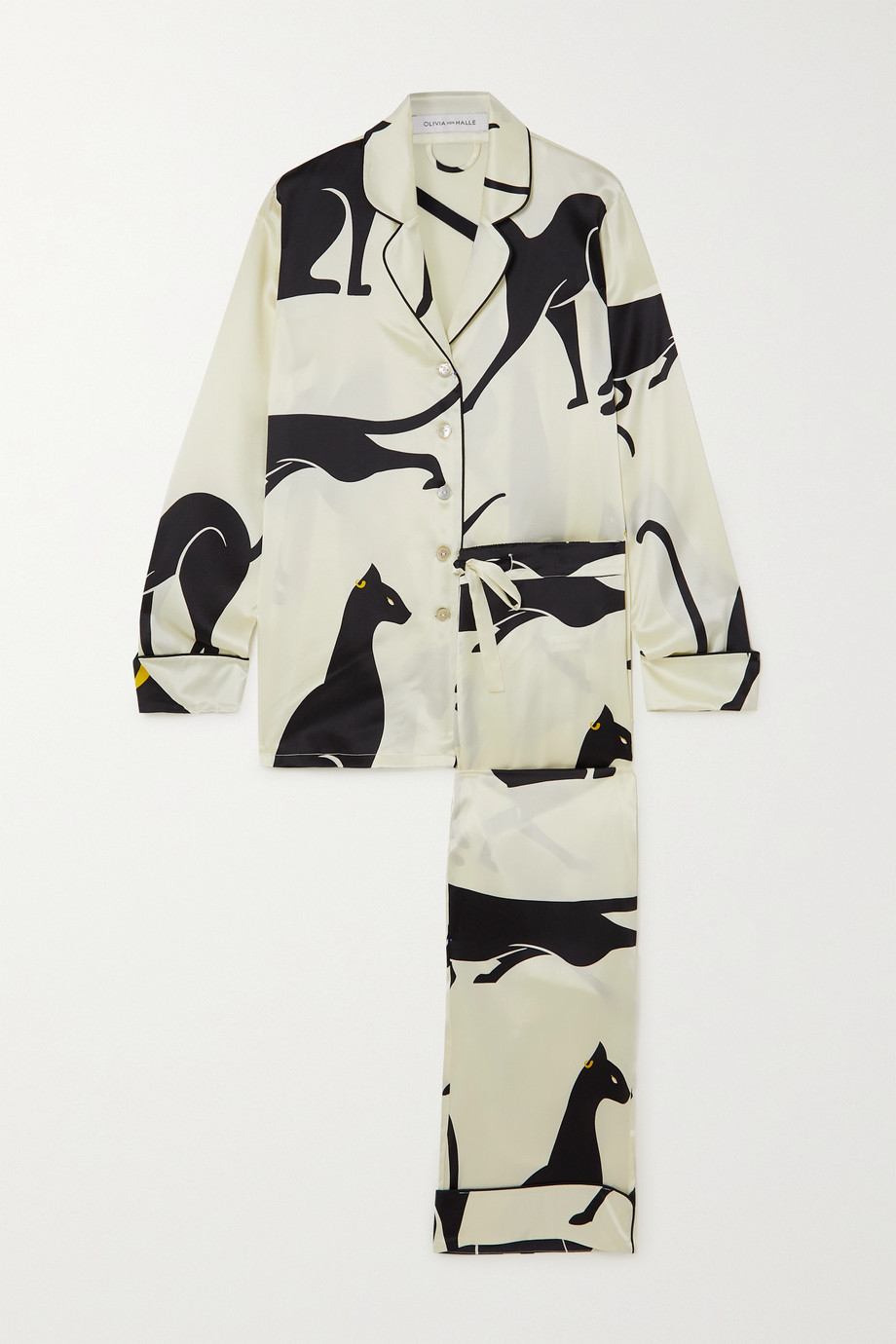 Olivia von Halle Lila Pyjama aus bedrucktem Crêpe de Chine aus Seide