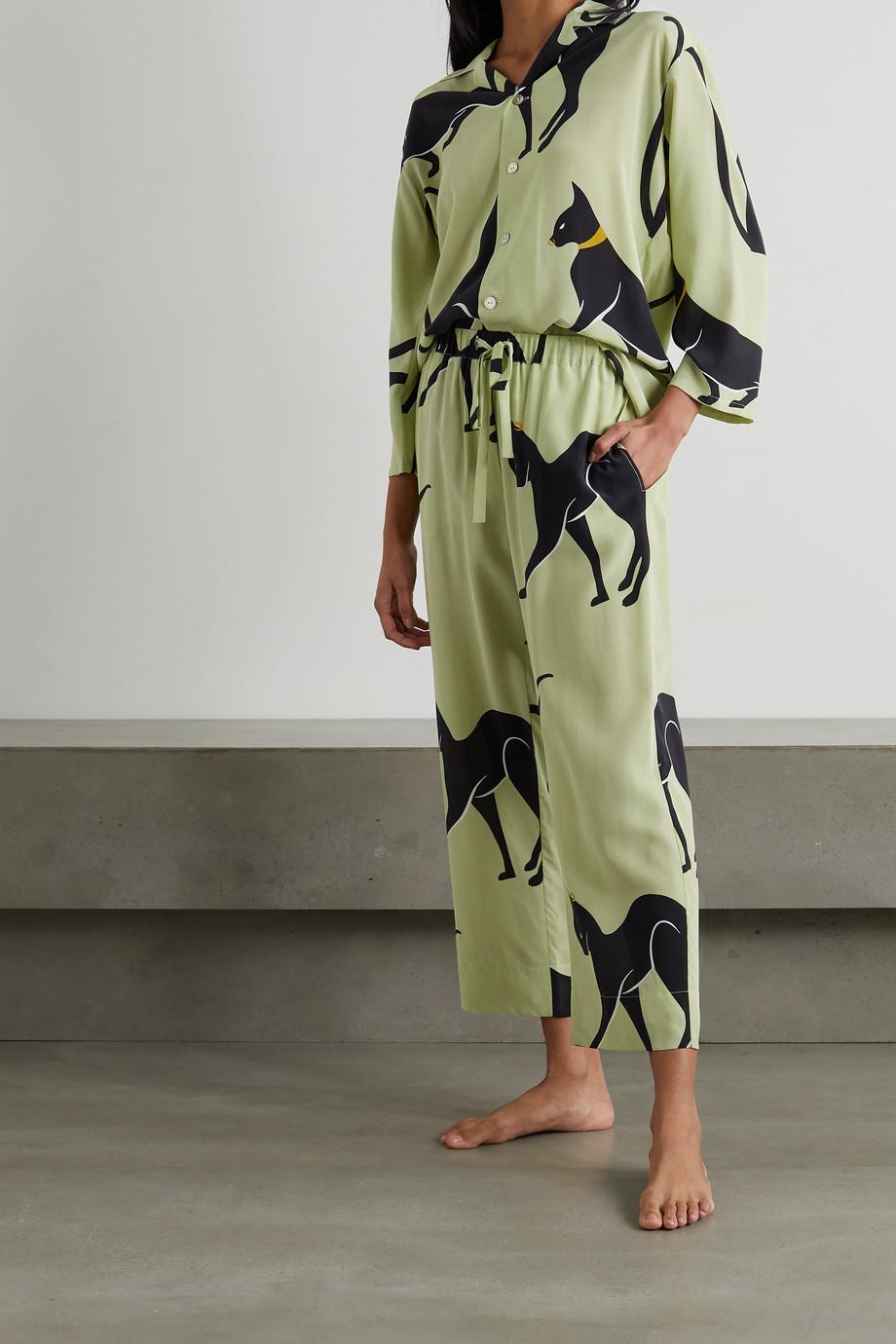 Olivia von Halle Casablanca Pyjama aus bedrucktem Crêpe de Chine aus Seide