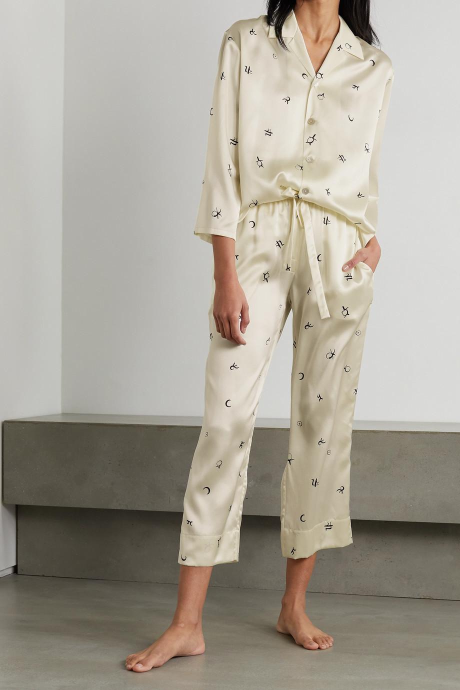 Olivia von Halle Casablanca Pyjama aus bedrucktem Seidensatin