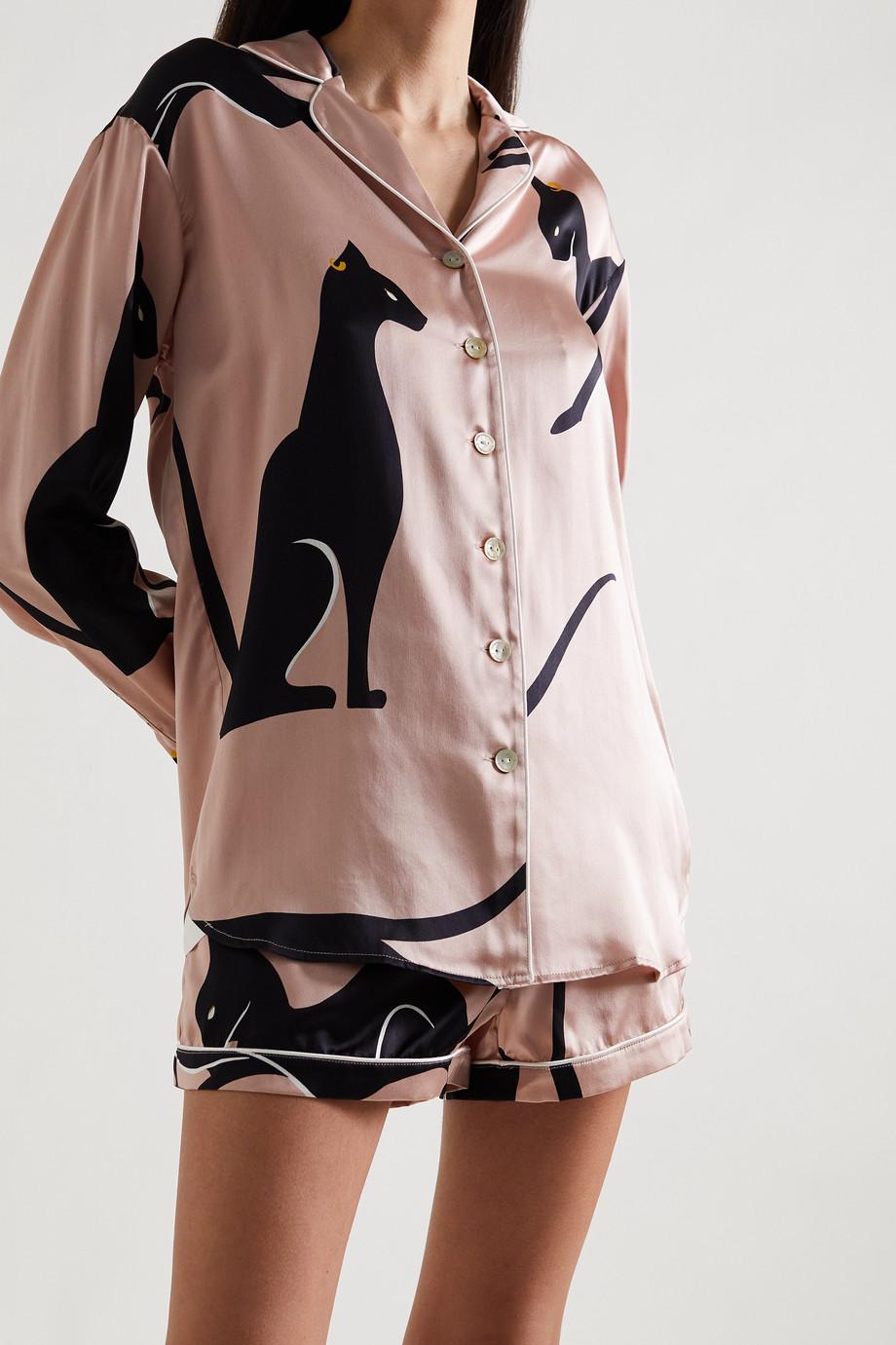 Olivia von Halle Alba bedruckter Pyjama aus Seidensatin mit Paspeln