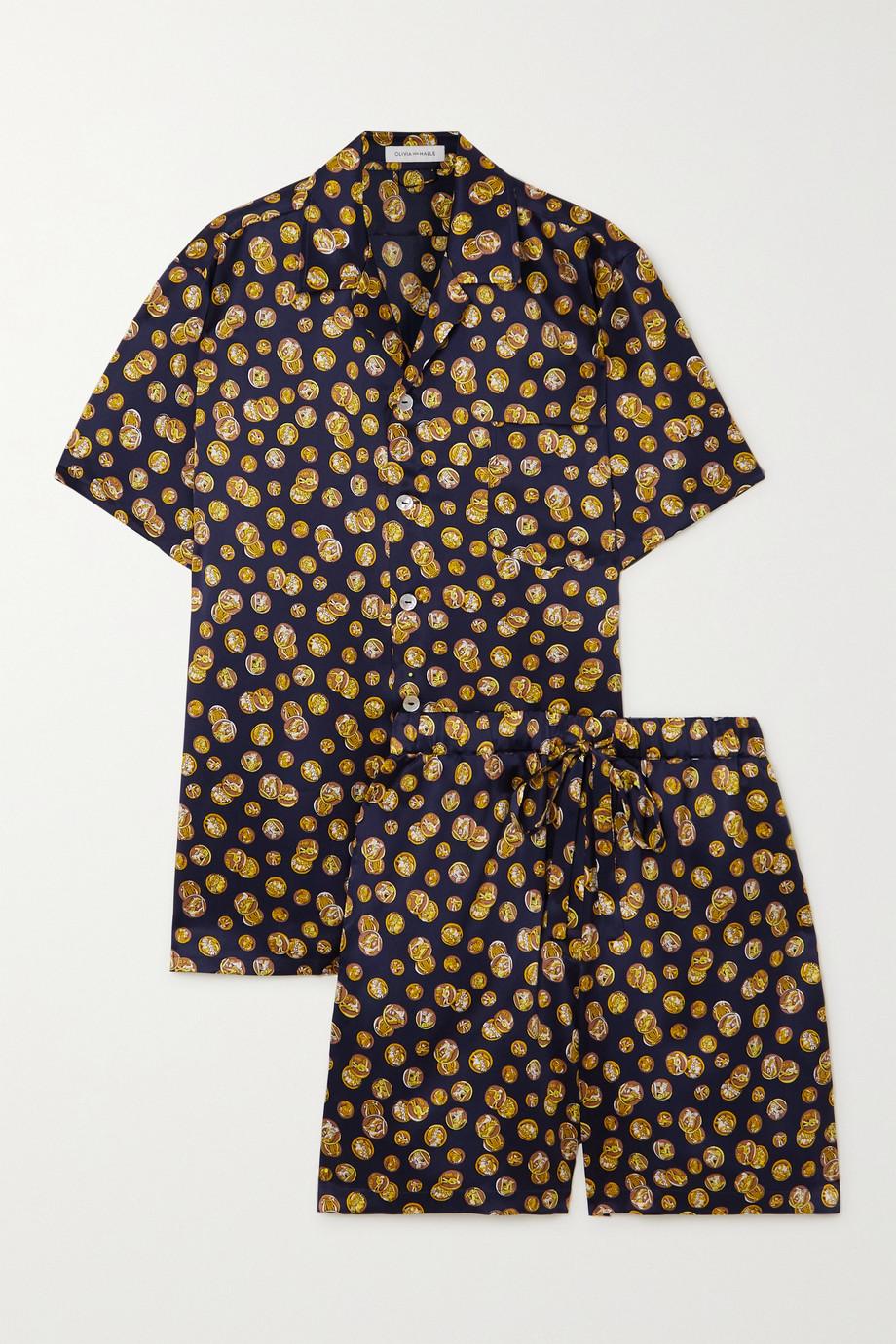 Olivia von Halle Emeli Pyjama aus bedrucktem Seidensatin