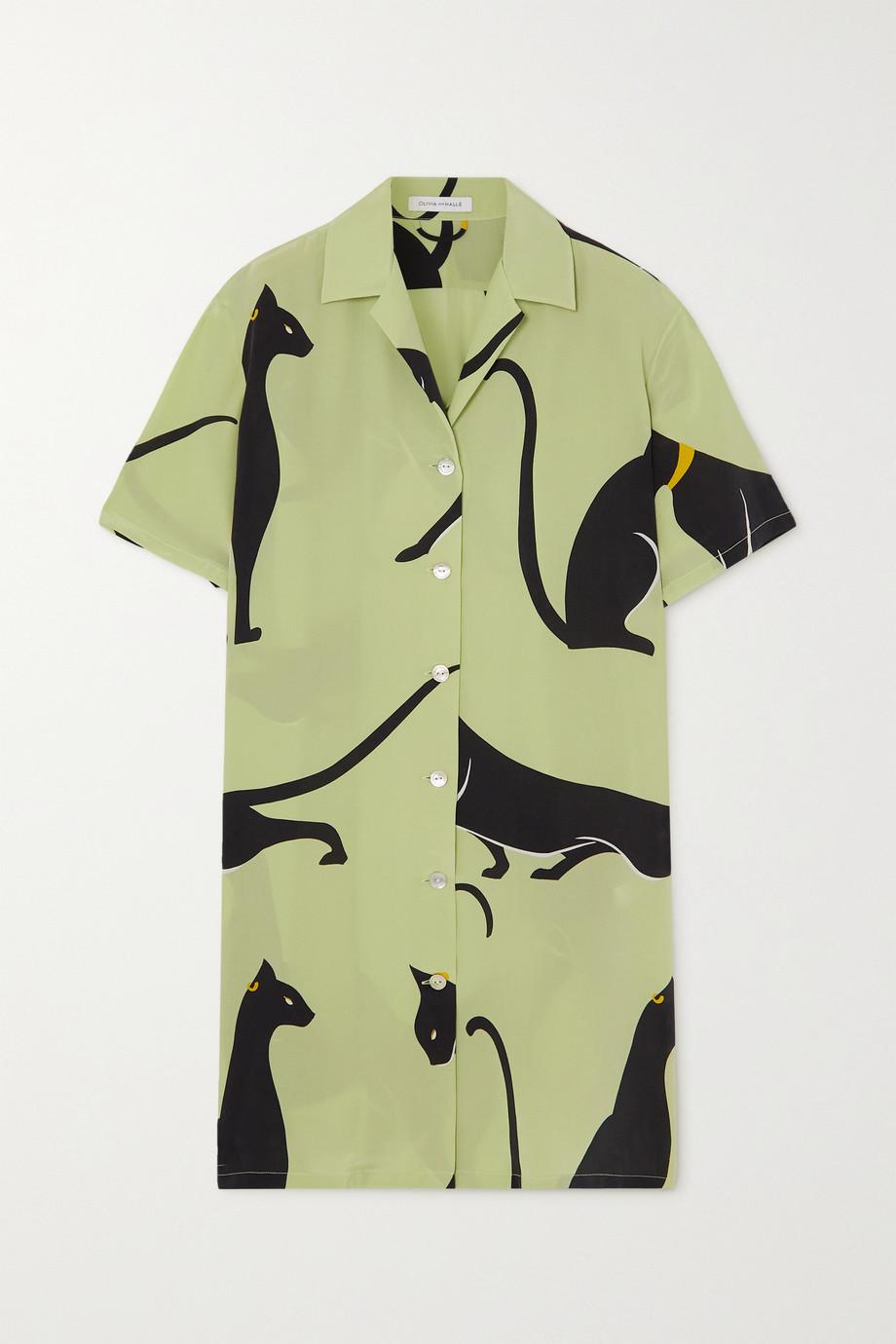 Olivia von Halle Amika Nachthemd aus bedrucktem Crêpe de Chine aus Seide