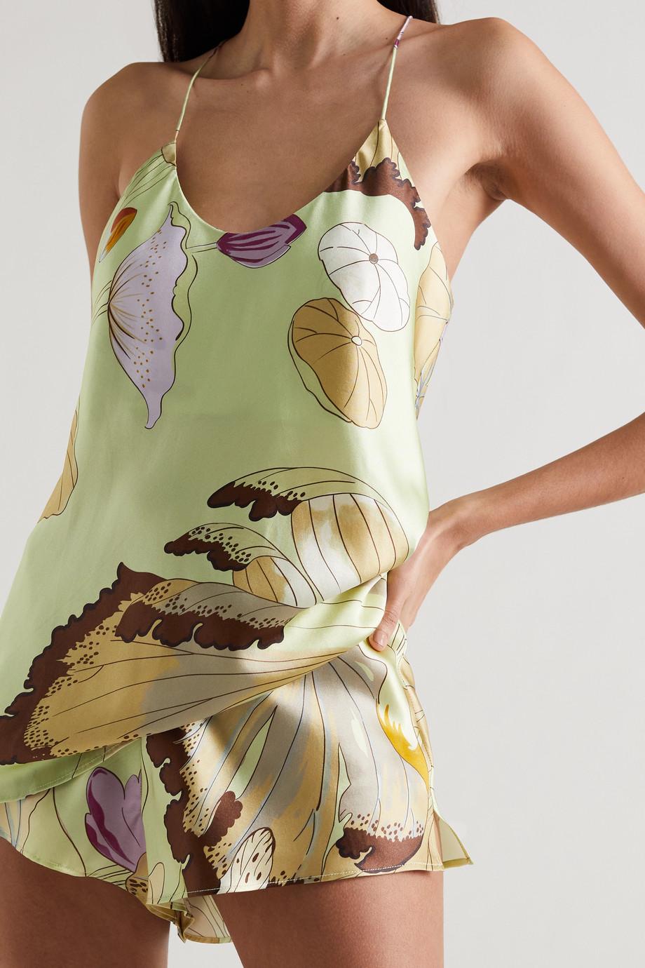 Olivia von Halle Bella Pyjama aus Seidensatin mit Blumenprint