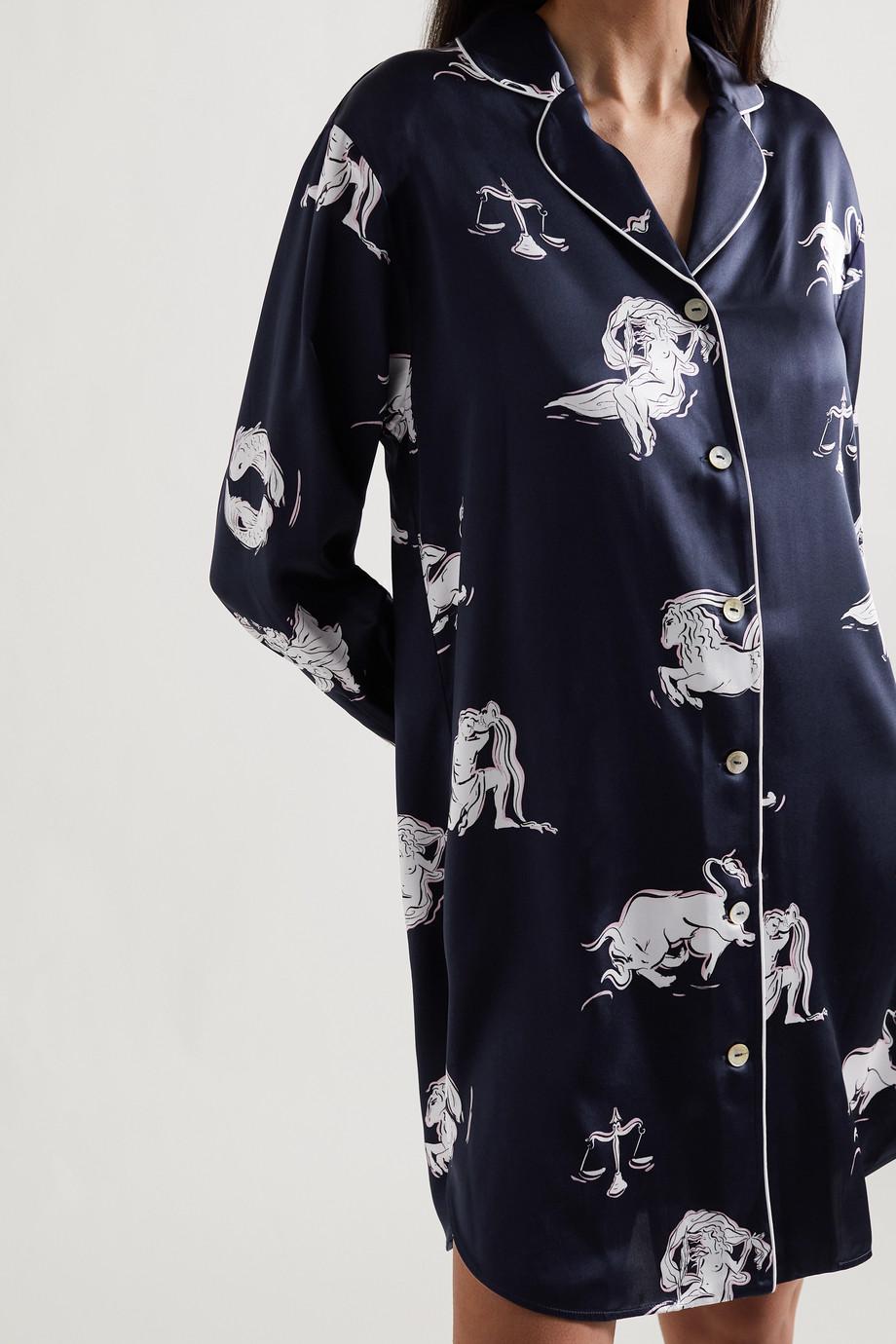 Olivia von Halle Poppy Nachthemd aus bedrucktem Seidensatin