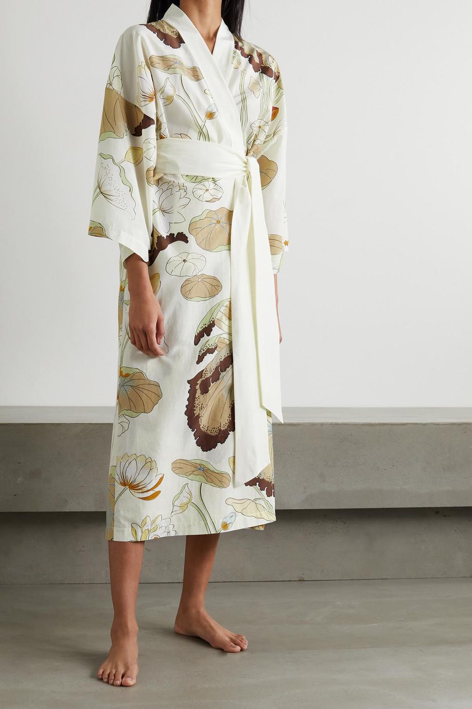 Olivia von Halle Amaya Morgenmantel aus einer Baumwoll-Seidenmischung mit Blumenprint