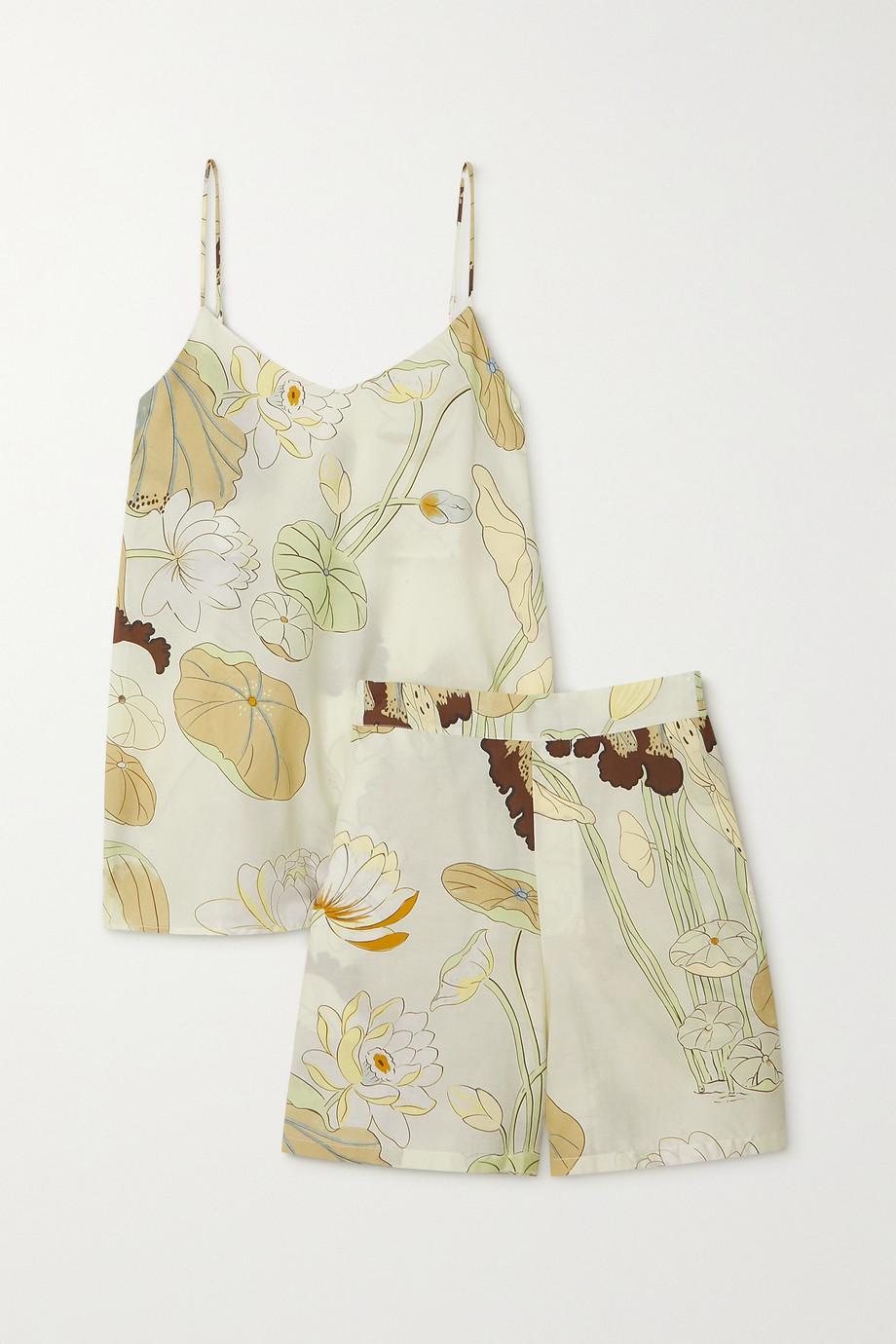 Olivia von Halle Indya Pyjama aus einer Baumwoll-Seidenmischung mit Blumenprint