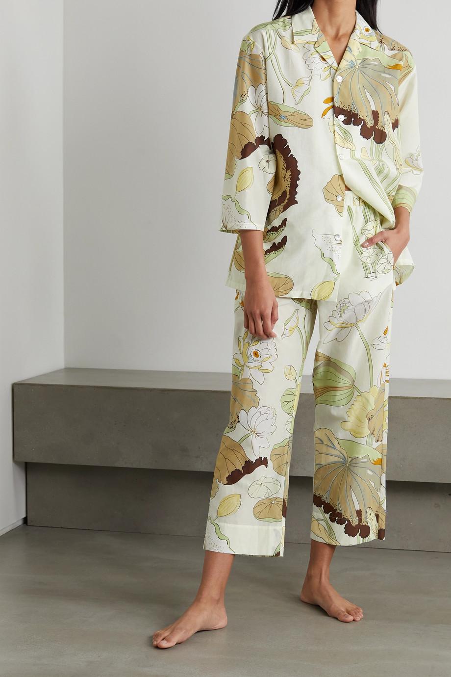 Olivia von Halle Casablanca Pyjama aus einer Baumwoll-Seidenmischung mit Blumenprint