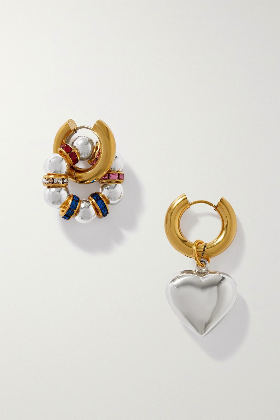 Timeless Pearly Vergoldete Creolen mit Swarovski-Kristallen und versilbertem Detail