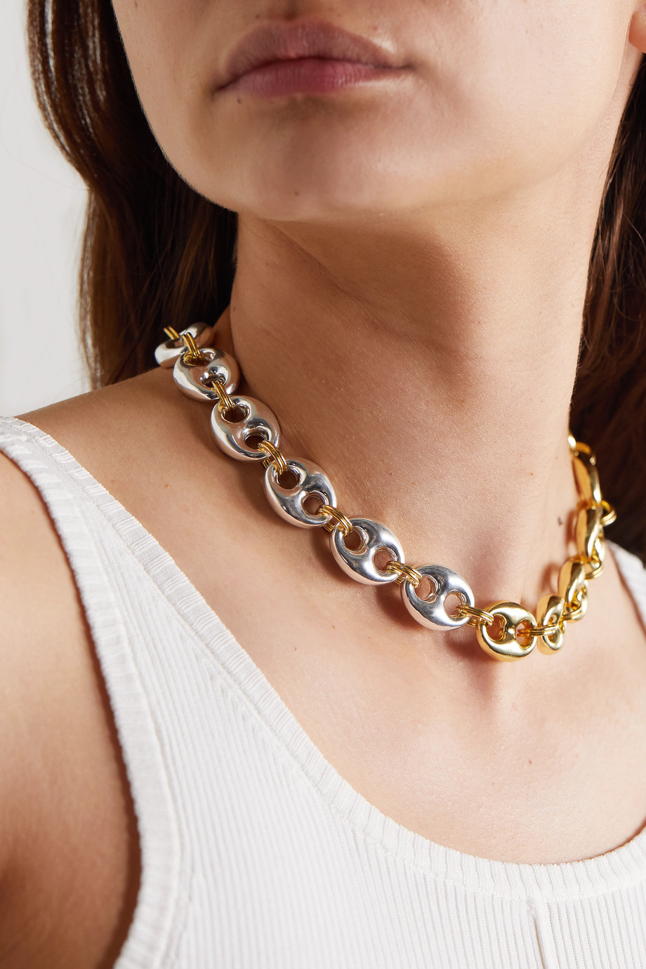 Timeless Pearly Gold- und silberfarbene Kette