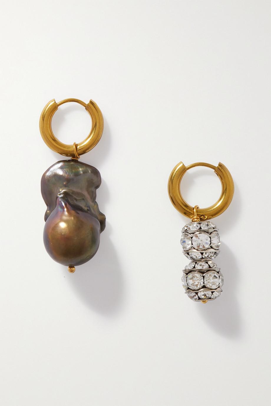 Timeless Pearly Boucles d'oreilles en métal doré et argenté, cristaux et perle