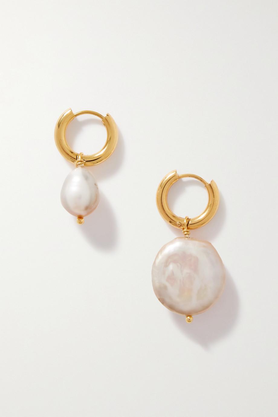 Timeless Pearly Boucles d'oreilles en métal doré et perles