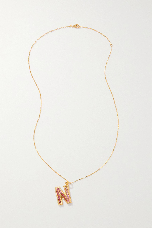 Pacharee Collier en plaqué or, tourmalines et saphirs Alphabet