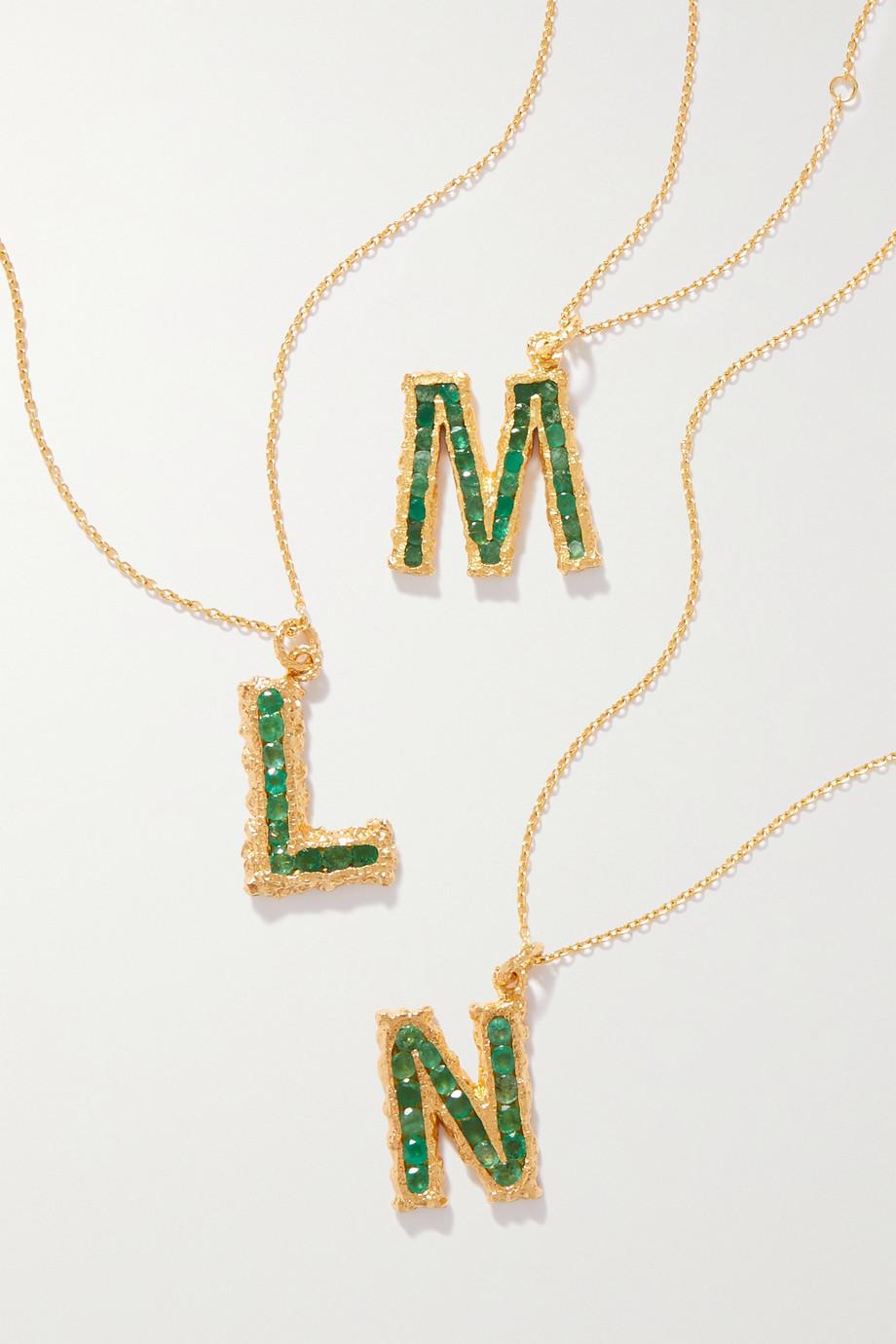 Pacharee Alphabet vergoldete Kette mit Smaragden