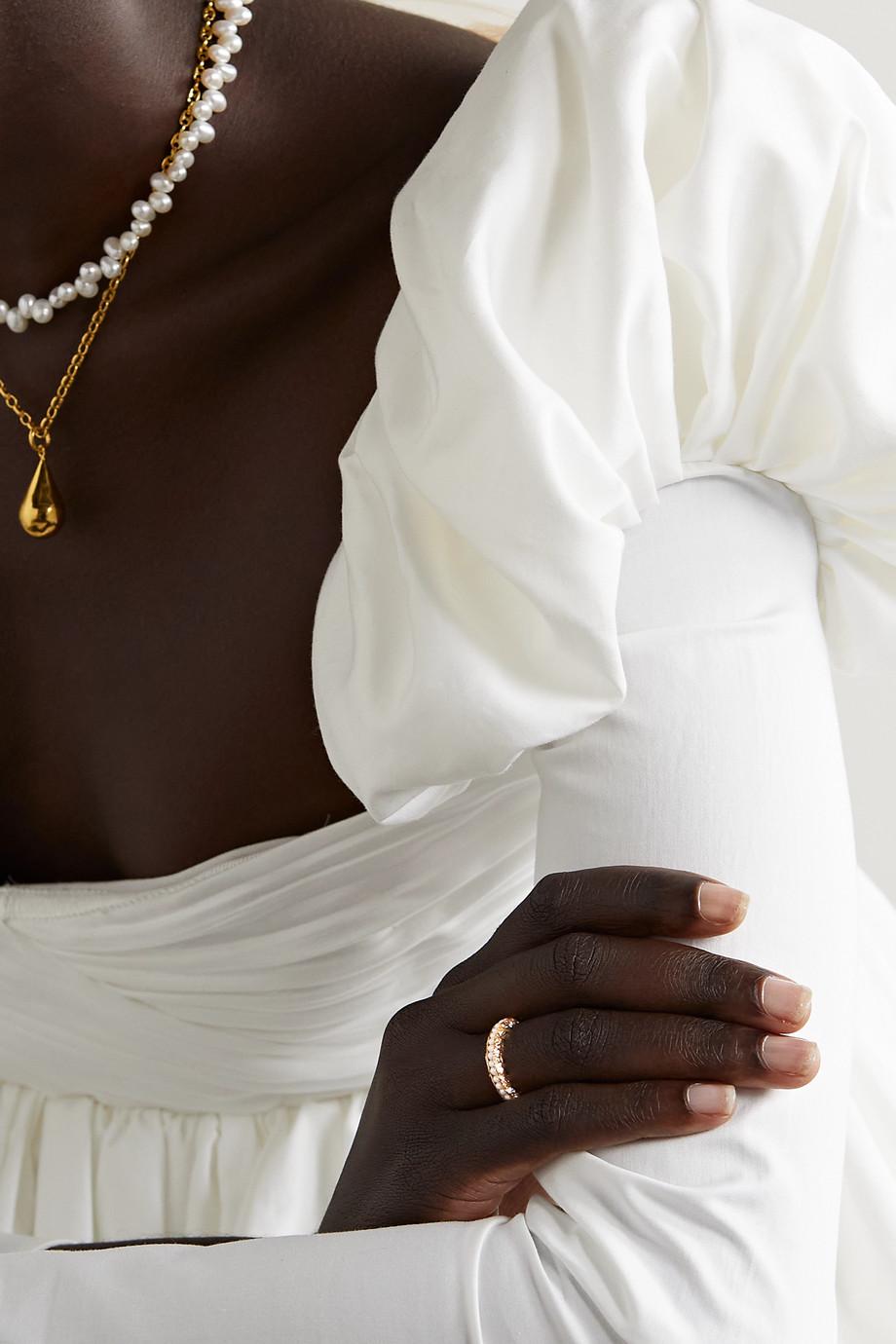 Pacharee Bague en plaqué or et perles