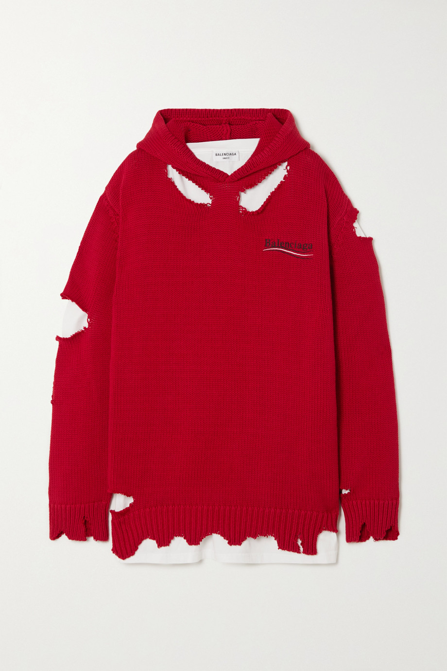 Balenciaga Oversized layered distressed printed cotton and jersey hoodie