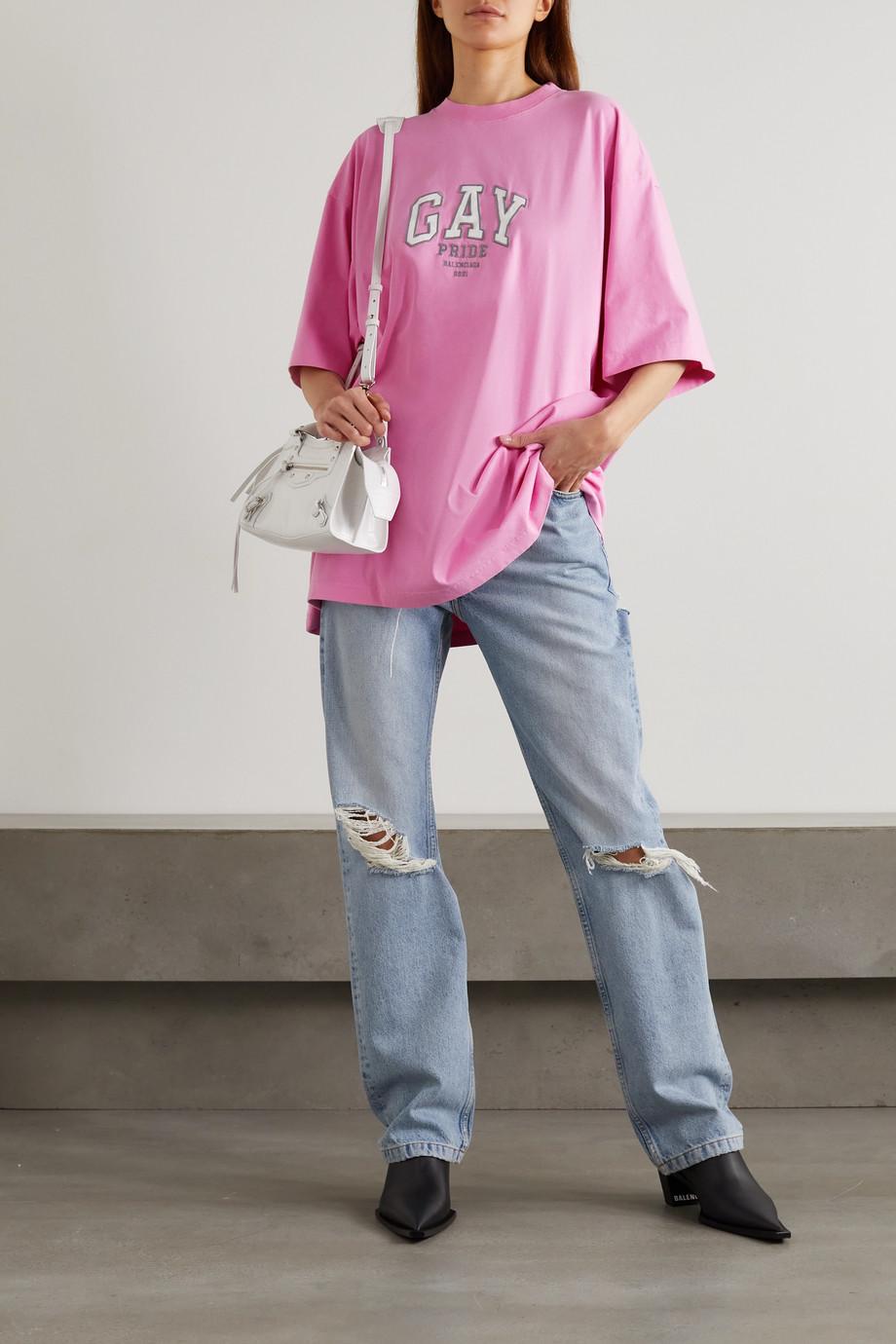 Balenciaga T-shirt oversize en jersey de coton à broderies