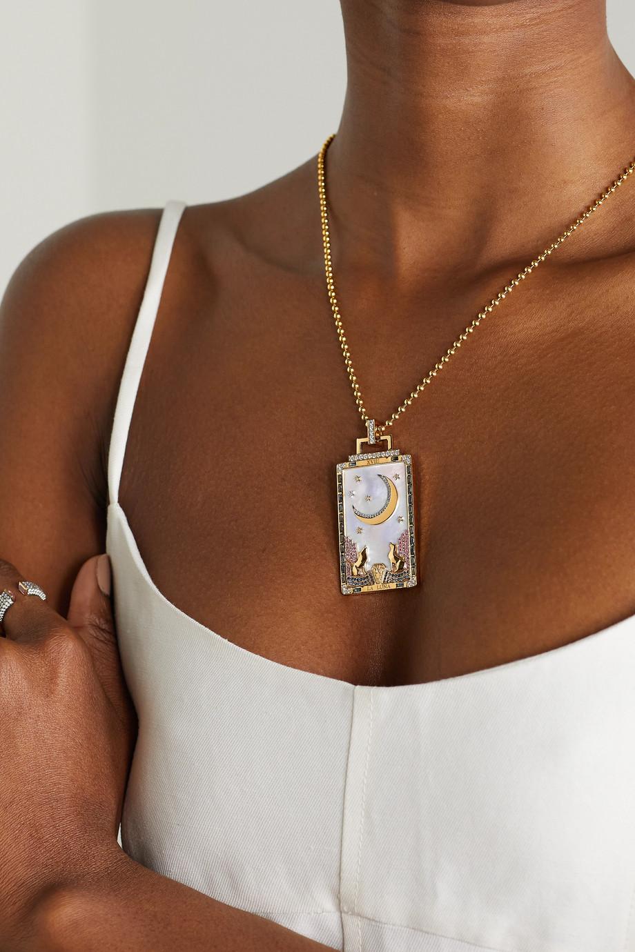 Sorellina Tarot La Luna Kette aus 18 Karat Gold mit mehreren Steinen