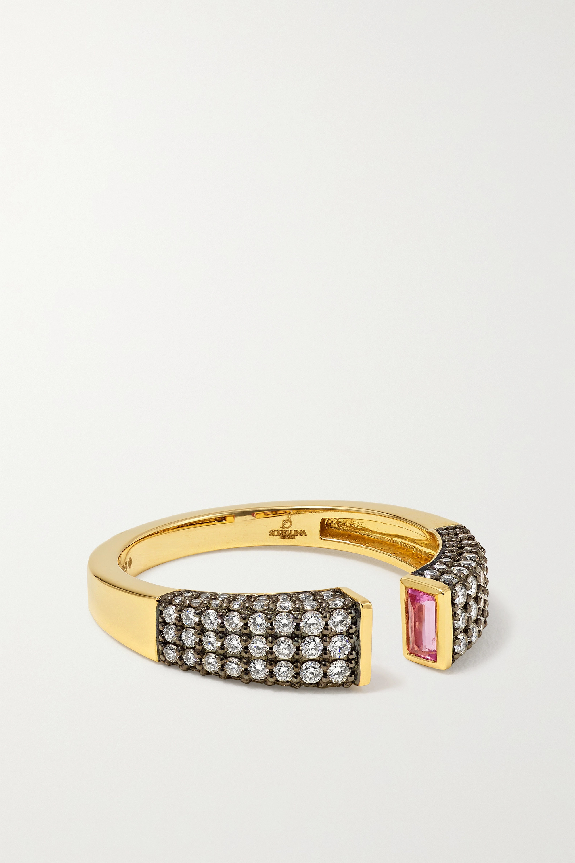 Sorellina - Stx & Stones 18-karat yellow and blackened white gold, sapphire and diamond ring