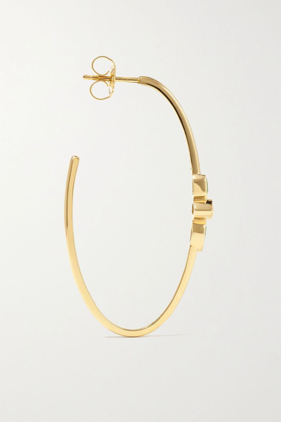 Sorellina Stx & Stone 18-karat gold emerald hoop earrings