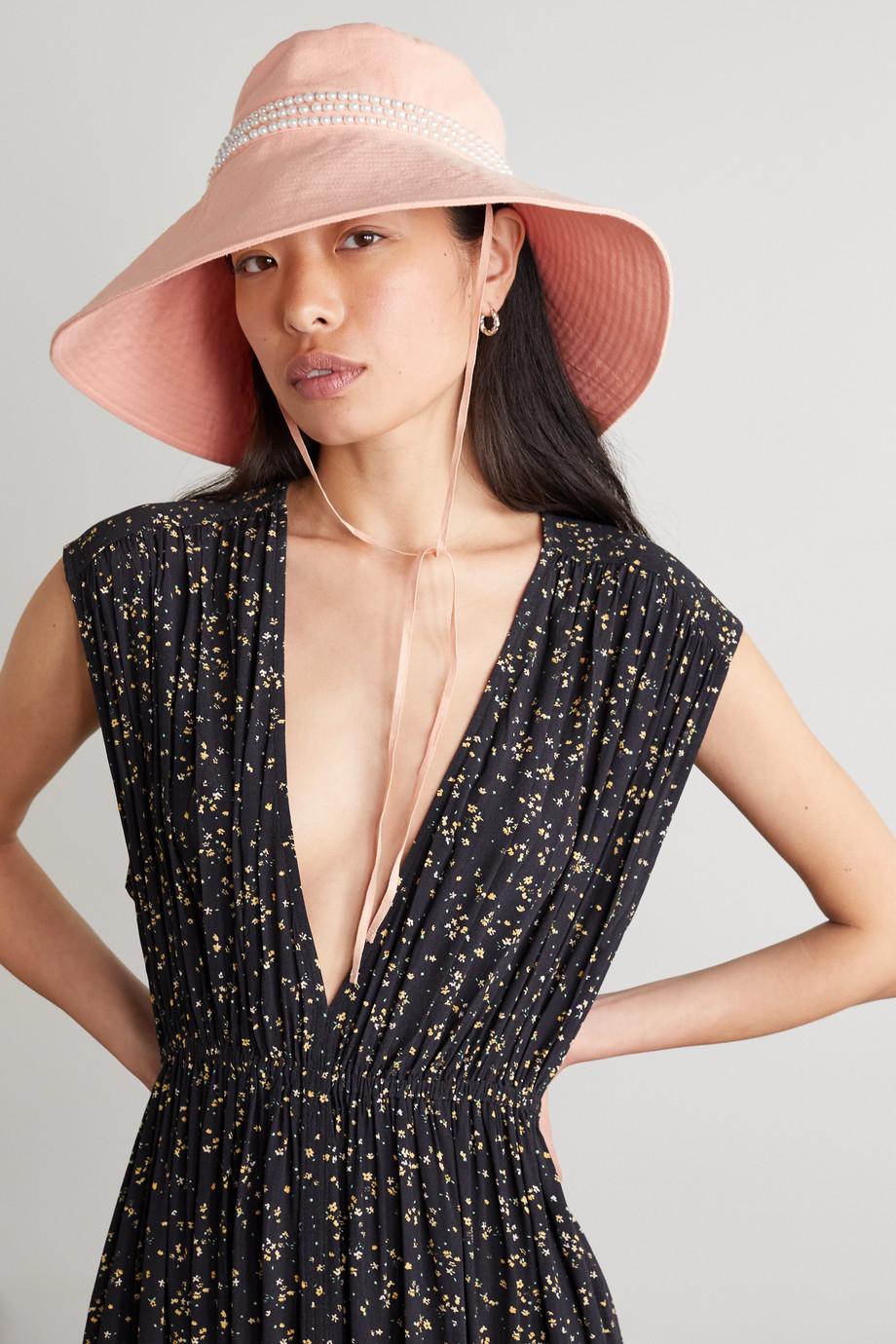 MaryJane Claverol Emanuelle faux pearl-embellished cotton-canvas bucket hat