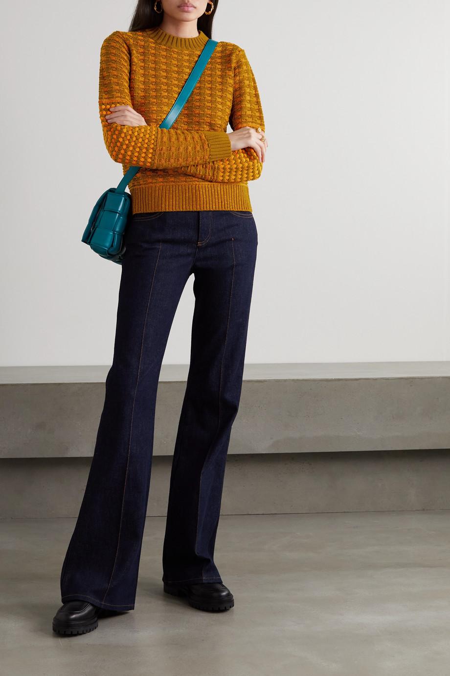Victoria Beckham Pull en laine et coton mélangés à mailles gaufrées et à carreaux