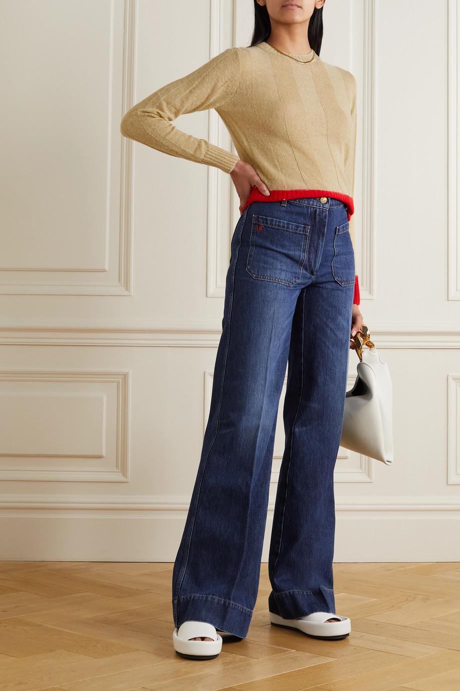 Victoria Beckham Pull bicolore en alpaga mélangé côtelé