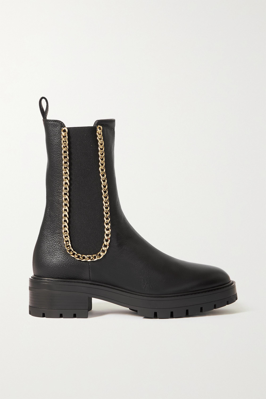 Aquazzura - Mason chain-embellished textured-leather Chelsea boots