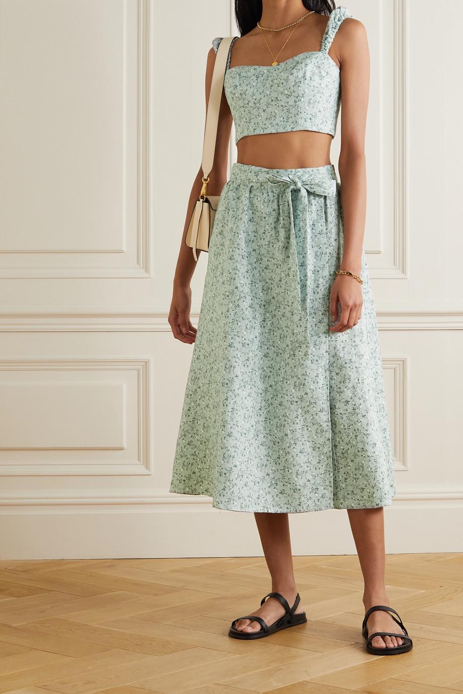 Reformation Clyde floral-print linen top and skirt set