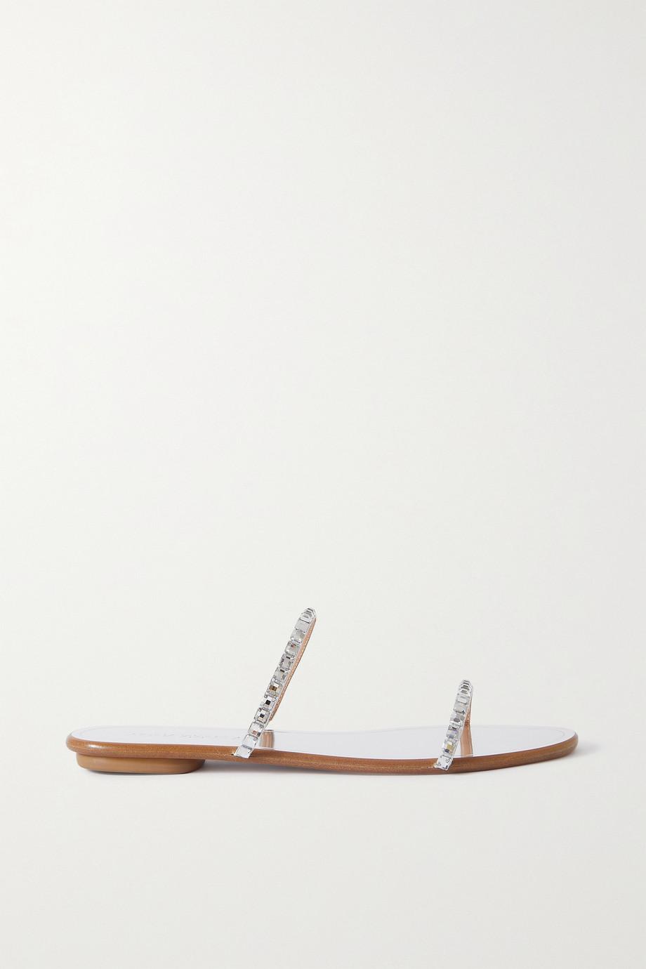 Aquazzura Midnight crystal-embellished metallic leather slides