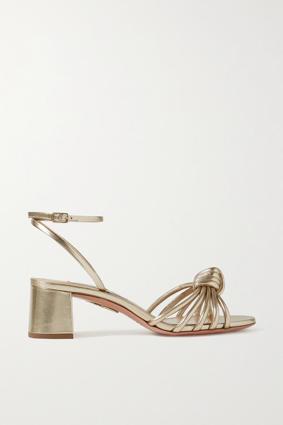 Aquazzura Celestina 50 metallic leather sandals