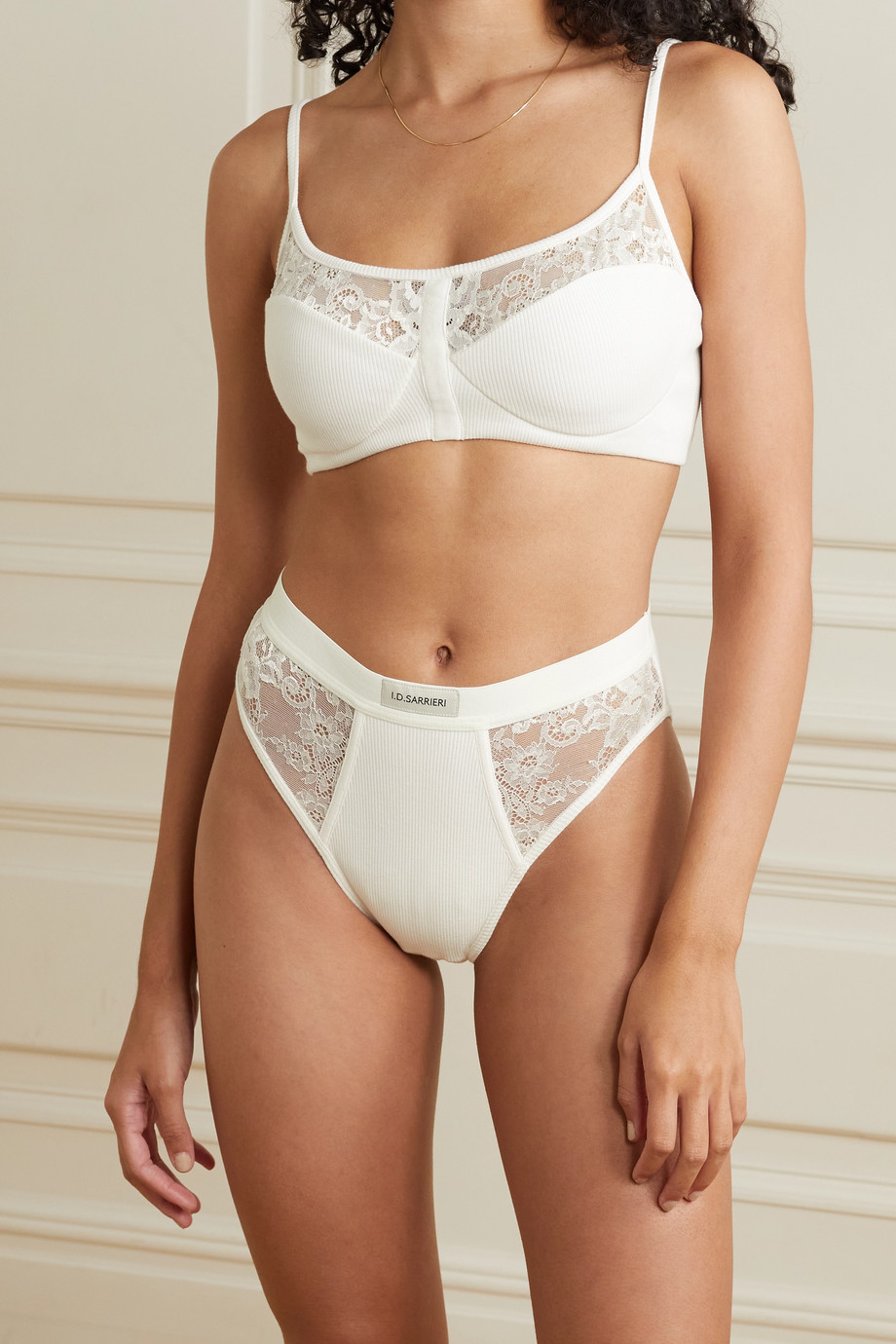 I.D. Sarrieri Charlie embroidered tulle and ribbed cotton-blend soft-cup bra