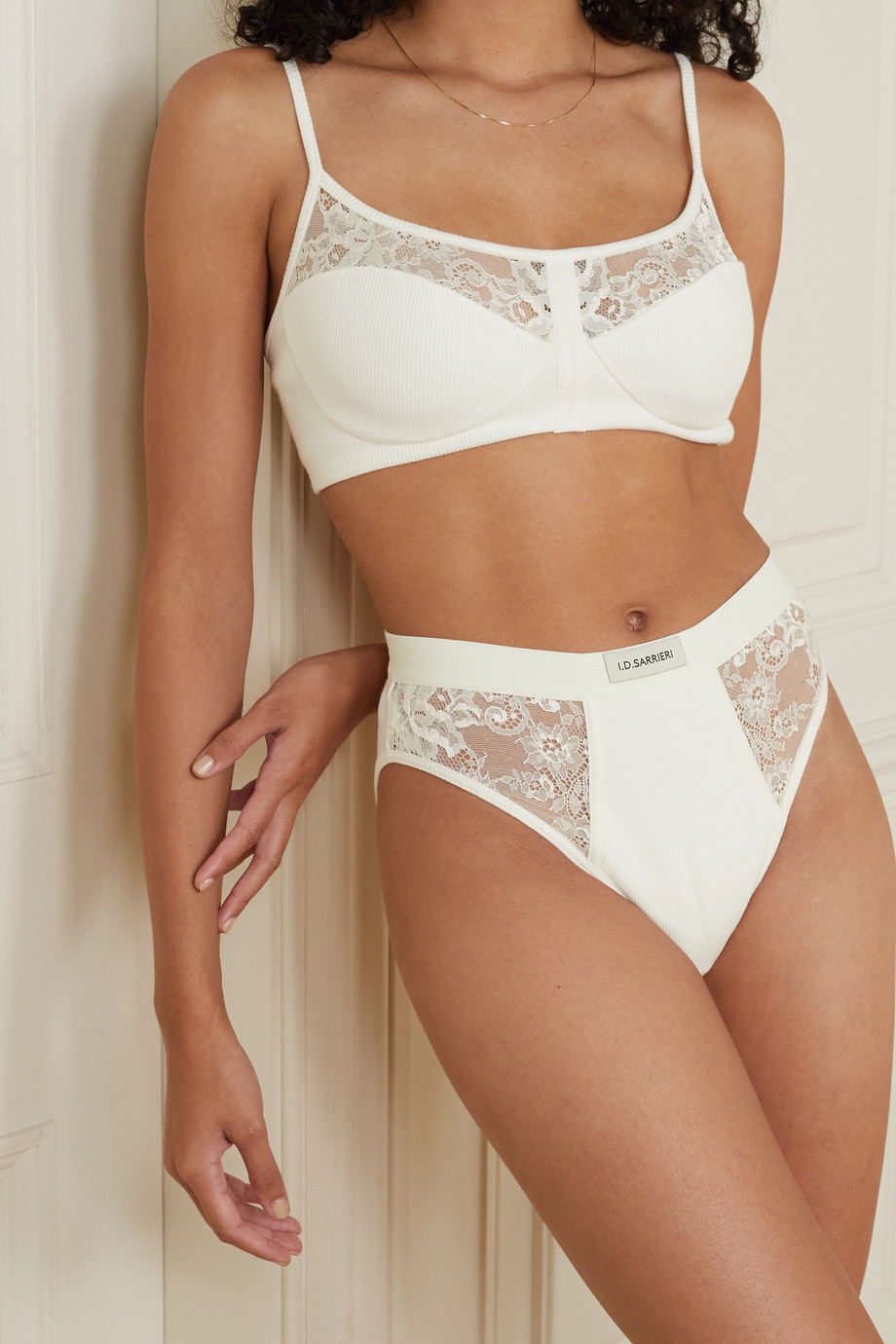 I.D. Sarrieri Charlie embroidered tulle and ribbed cotton-blend briefs