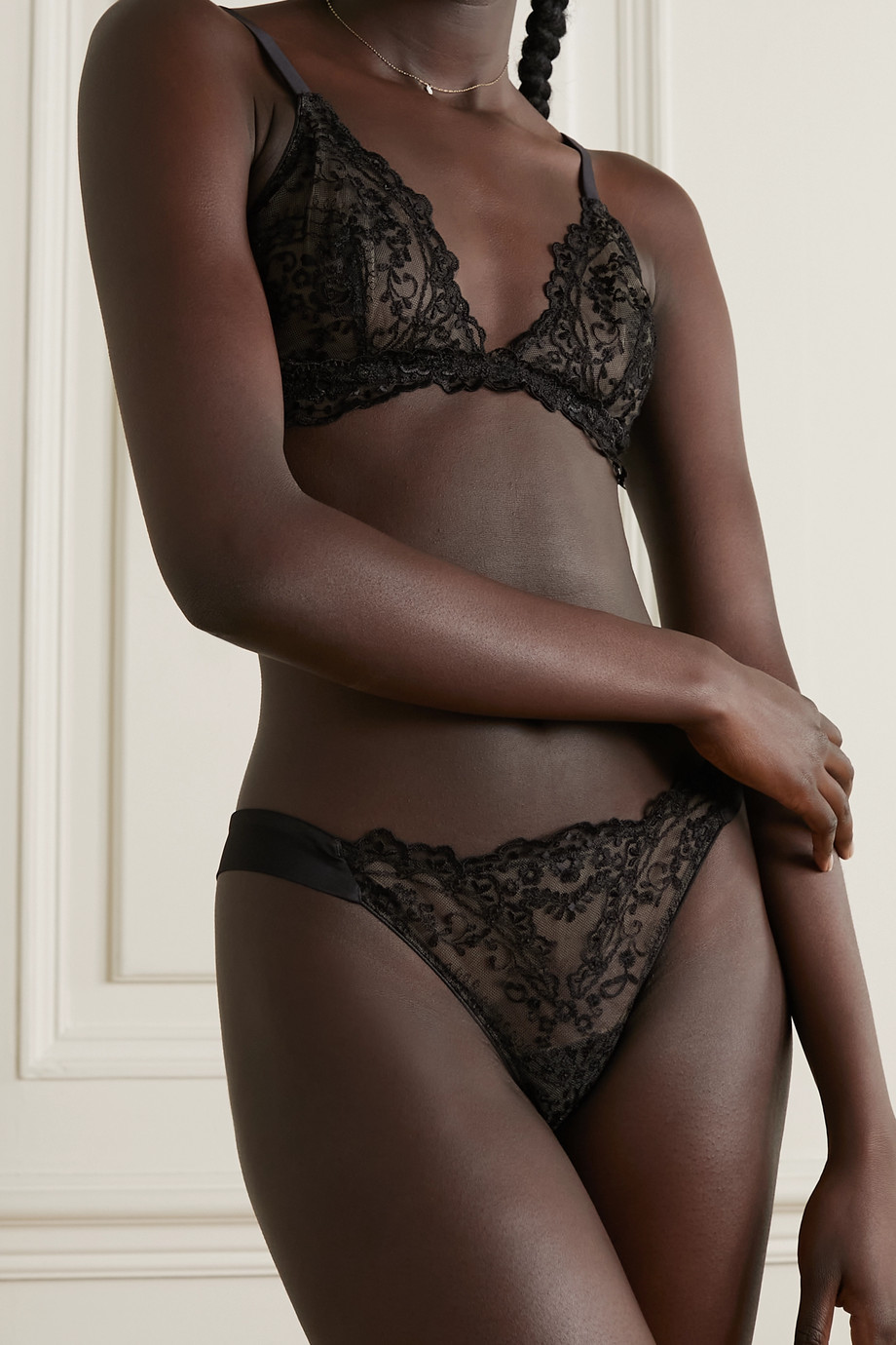 I.D. Sarrieri New Orleans embroidered tulle soft-cup triangle bra