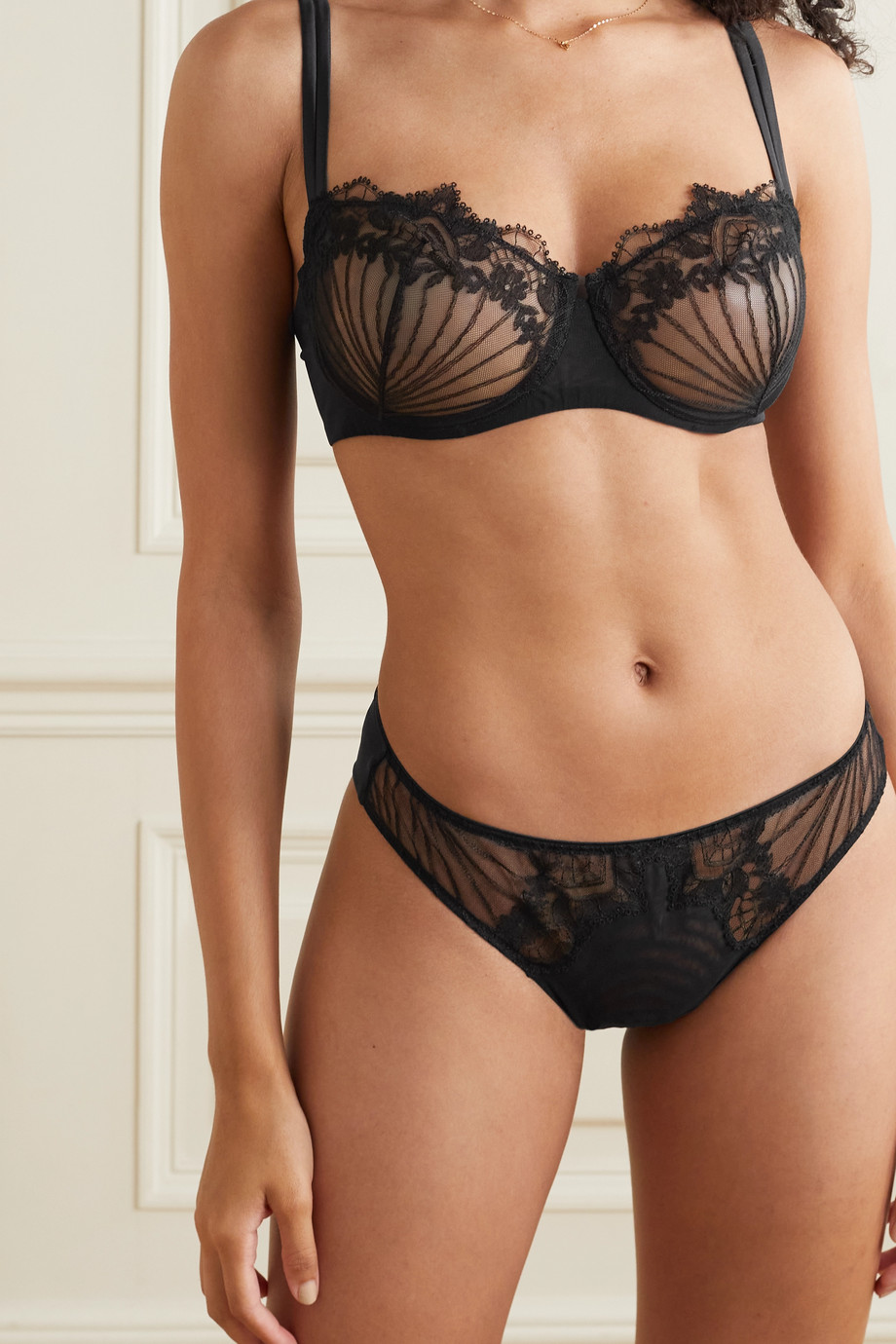 I.D. Sarrieri Stretch-jersey and embroidered tulle briefs