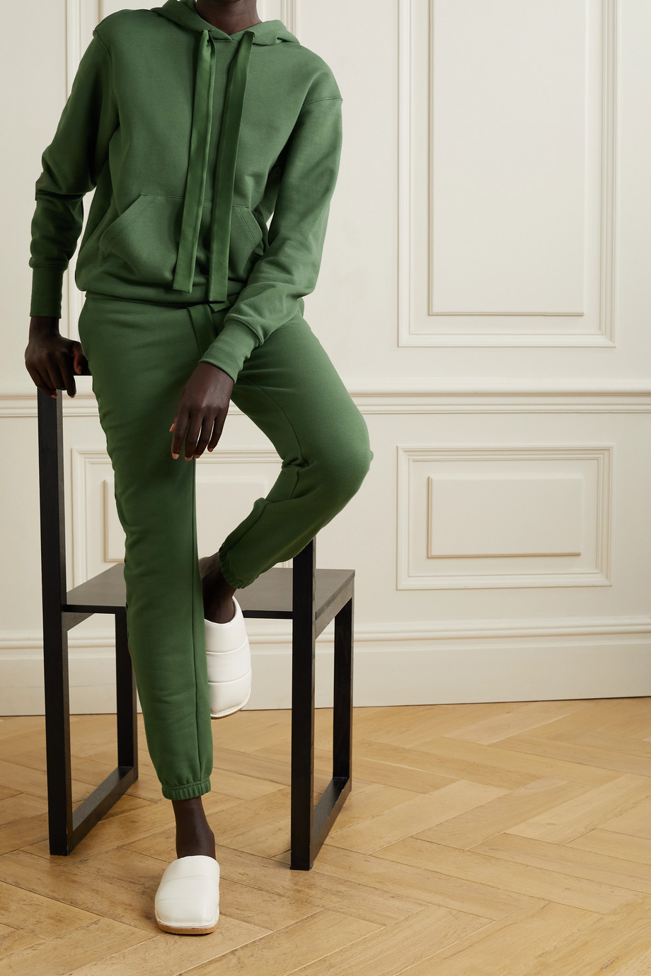 I.D. Sarrieri Serene Sundays satin-trimmed cotton-blend jersey hoodie