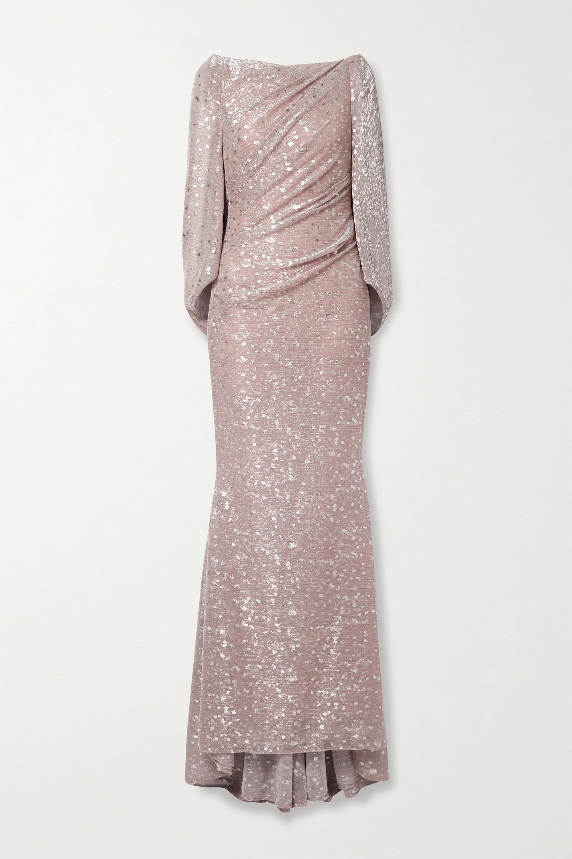 Talbot Runhof Robe du soir en voile métallisé imprimé à drapés