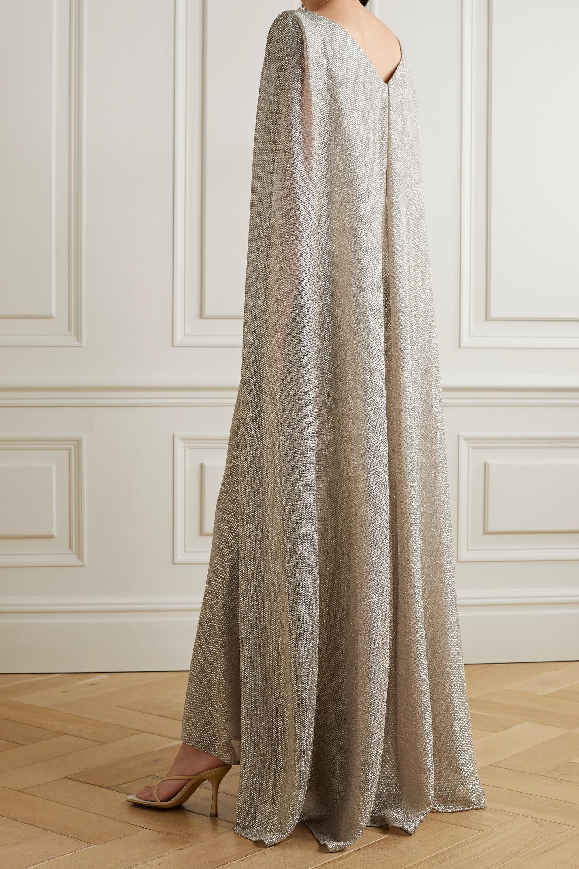 Talbot Runhof Robe du soir effet cape en voile métallisé à drapé