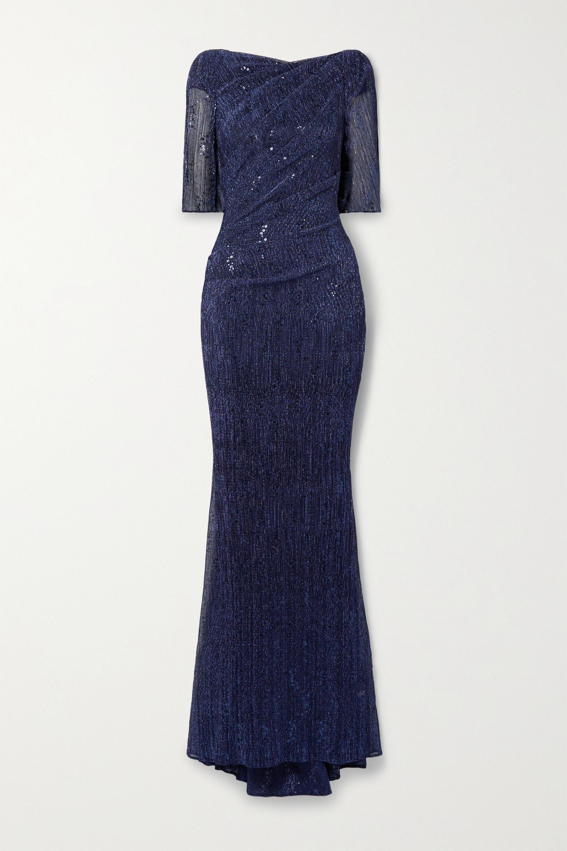 Talbot Runhof Robe du soir en voile métallisé à sequins et à drapé