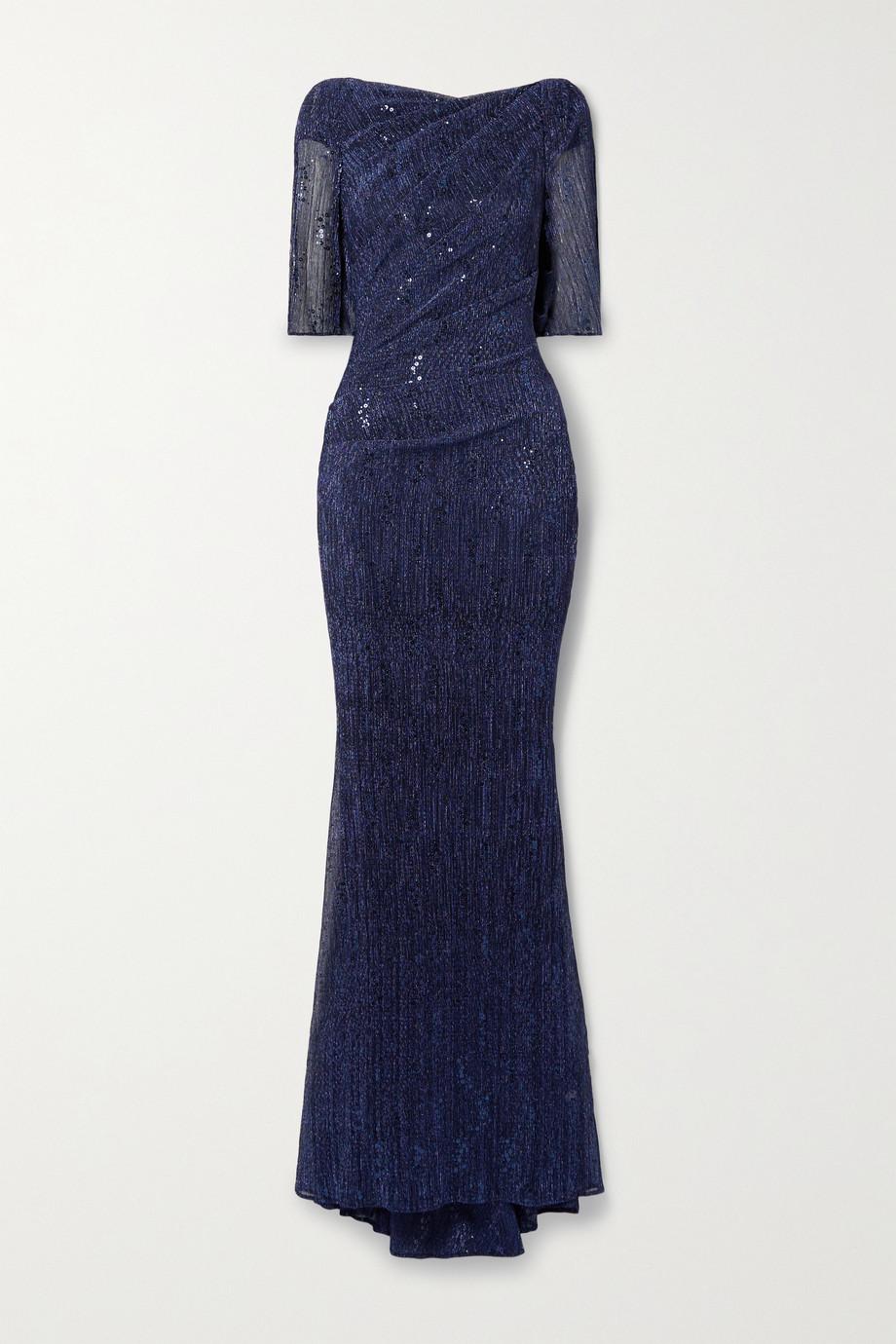 Talbot Runhof Robe aus Metallic-Voile mit Drapierungen und Pailletten