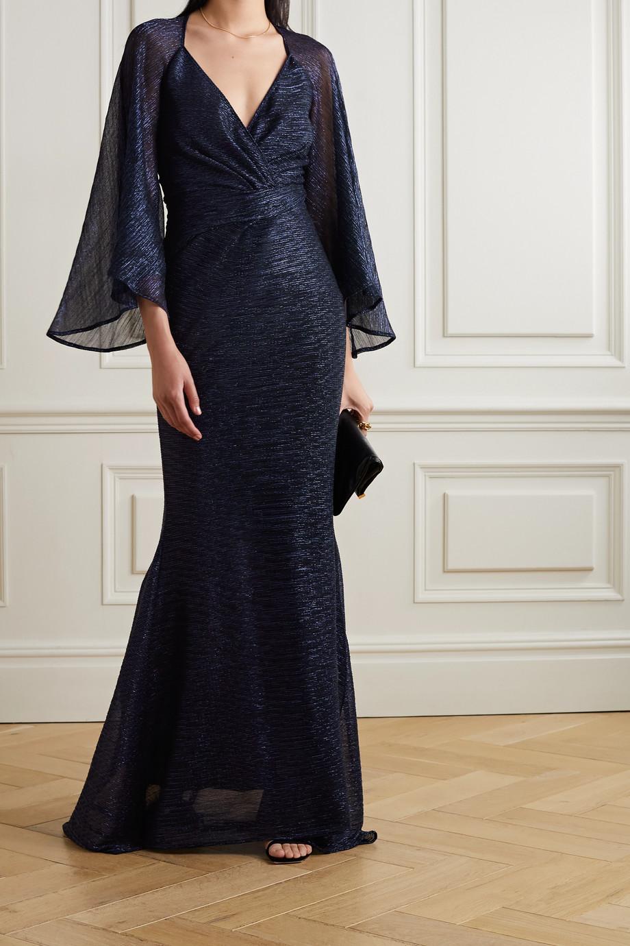 Talbot Runhof Robe du soir effet portefeuille en voile métallisé