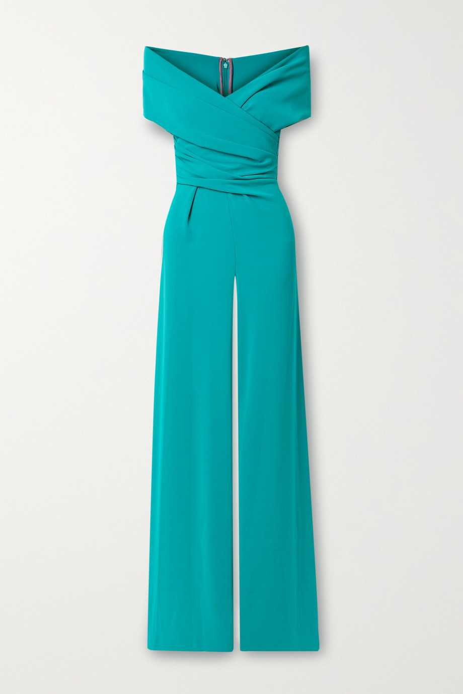 Talbot Runhof Off-the-shoulder wrap-effect crepe jumpsuit