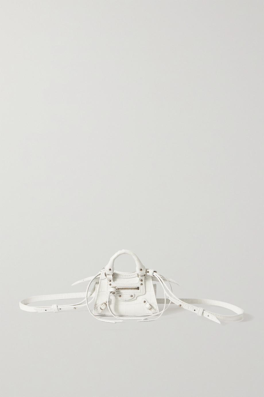 Balenciaga Sac à main en cuir effet croco Neo Classic Nano