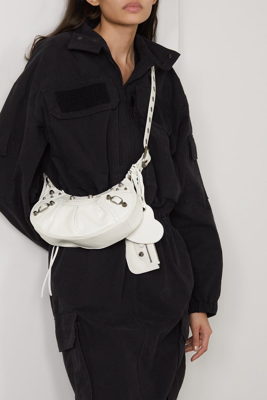 Balenciaga Sac porté épaule en cuir texturé à clous XS