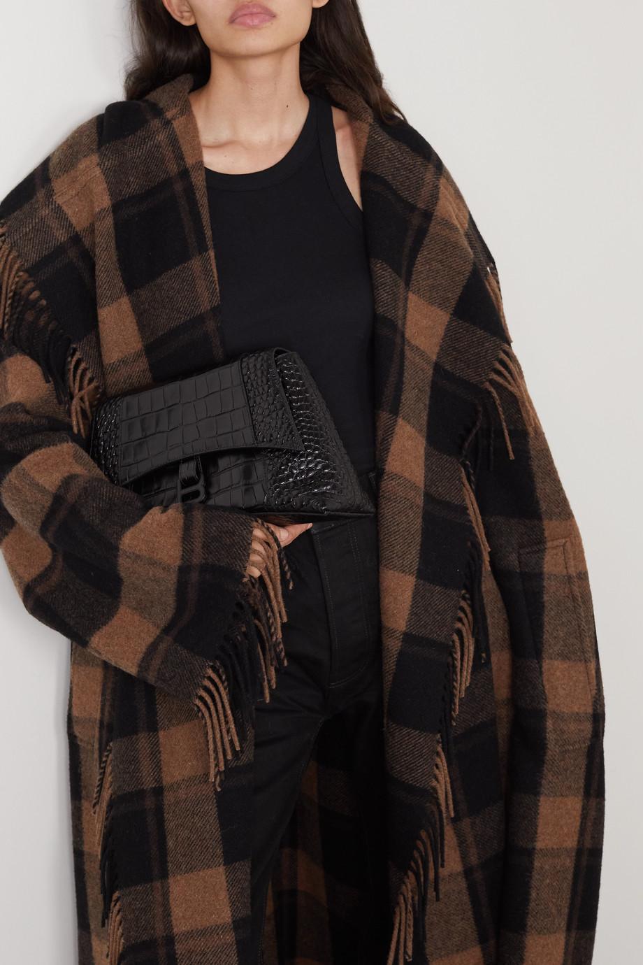 Balenciaga Sac porté épaule en cuir effet croco Hourglass Medium